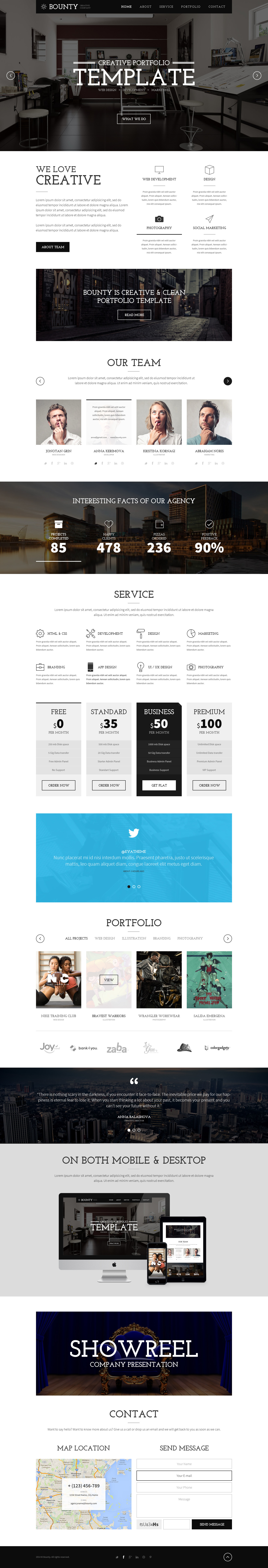 Bounty - One Page Creative Clean Template