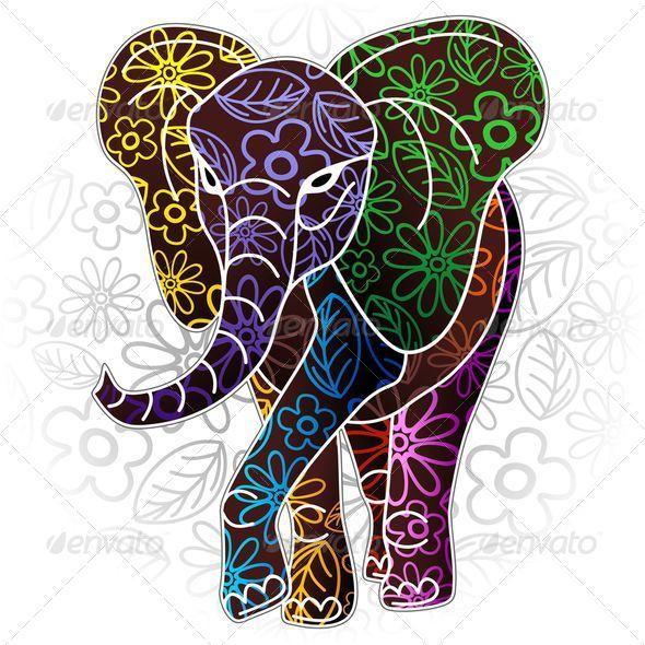 GraphicRiver Elephant Floral Batik Art Design 6897129