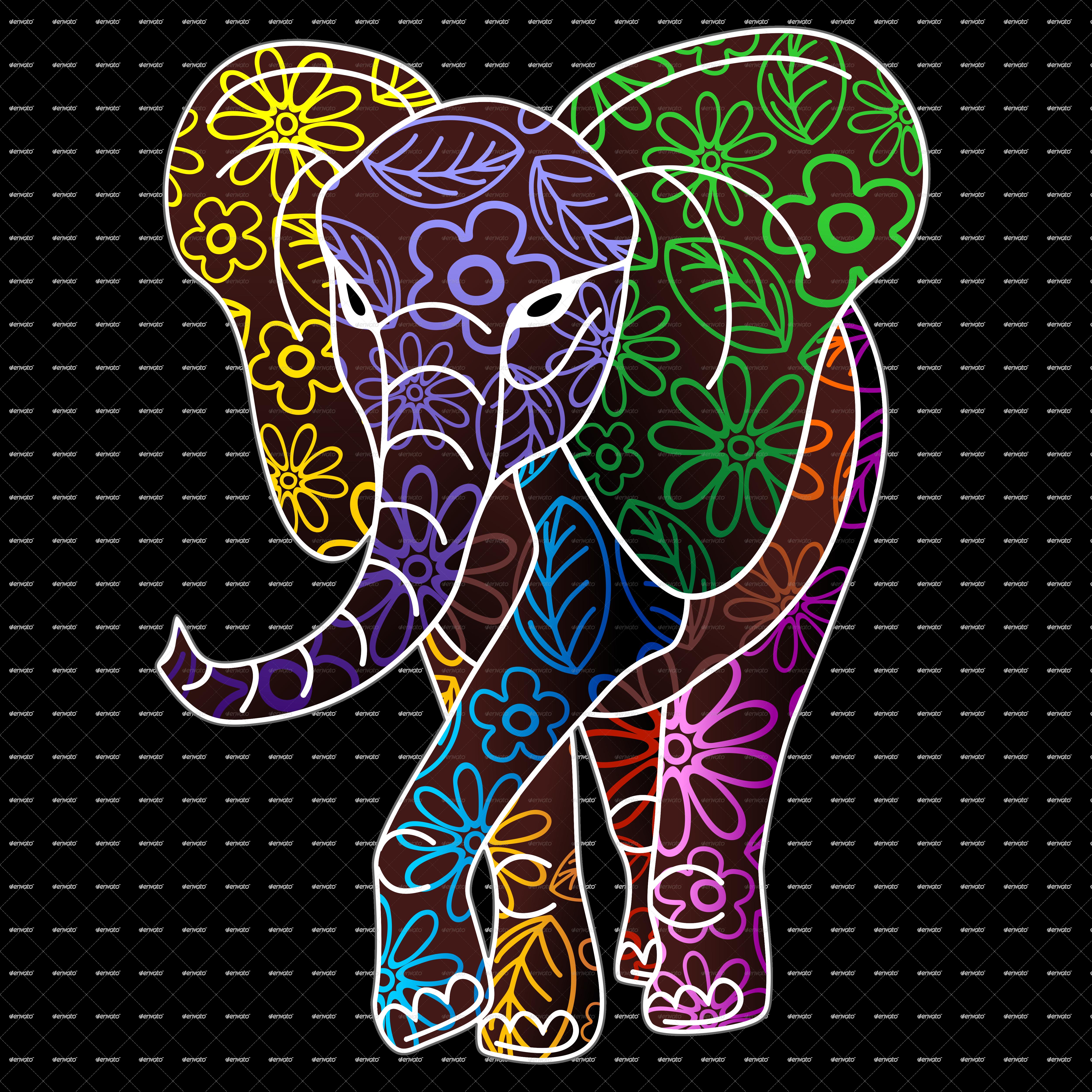 Elephant Floral Batik Art Design by Bluedarkat | GraphicRiver