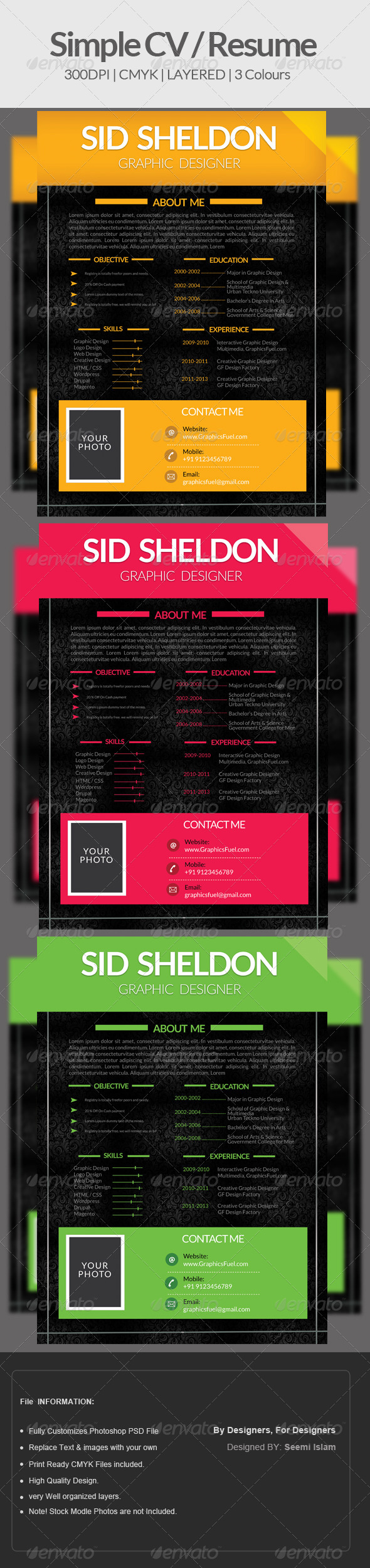 GraphicRiver Simple CV Resume 6517889
