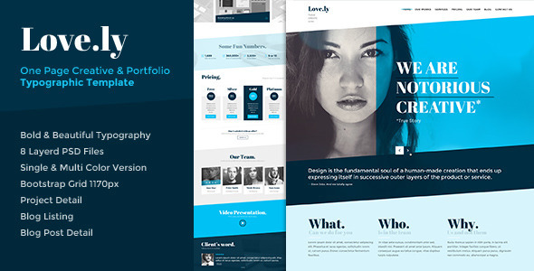 Love.ly - One Page Typographic Parallax PSD - Creative PSD Templates