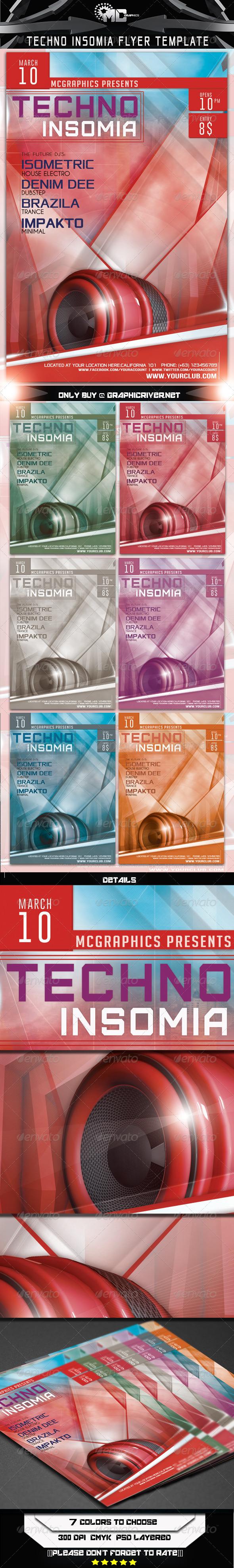 GraphicRiver Techno Insomia Flyer Template 6897591