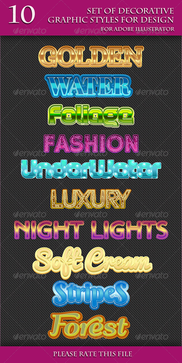 GraphicRiver Set of Various Graphic Styles for Adobe Illusrator 6897802