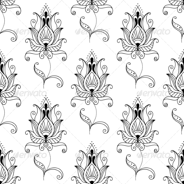 GraphicRiver Seamless Pattern of Persian Floral Motifs 6898082