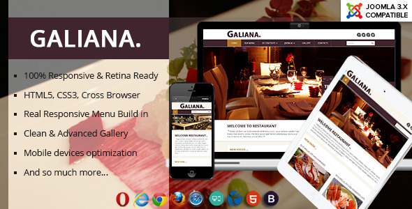 Galiana - Responsive Restaurant Joomla 3 Template