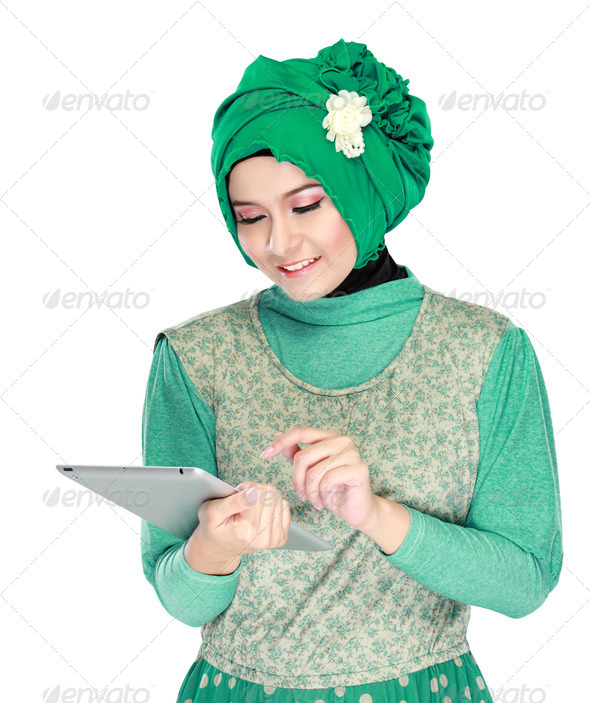 Beautiful asian girl with tablet computer - Stock Photo - Images