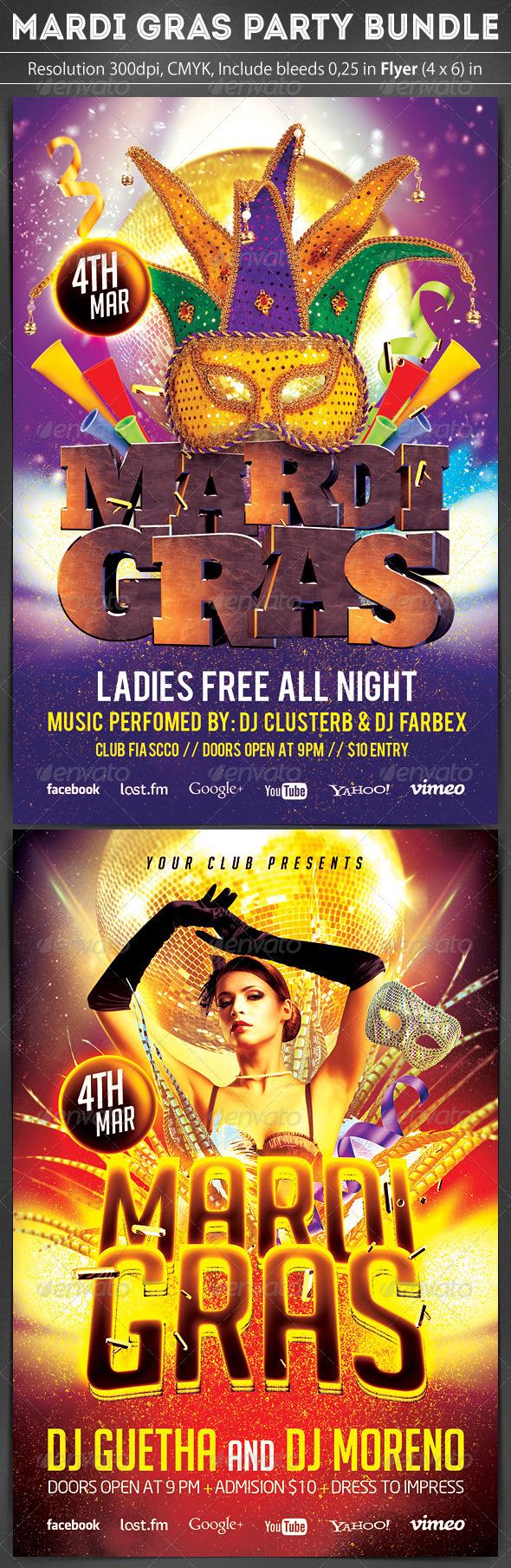 GraphicRiver Mardi Gras Flyer Bundle 2 in 1 6898303