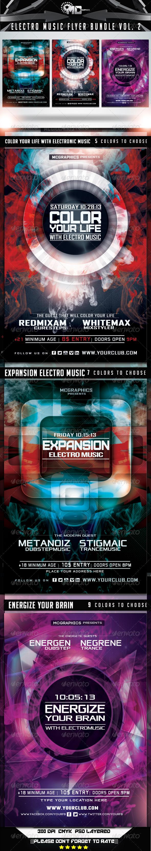 GraphicRiver Electro Music Flyer Bundle Vol 2 6898539
