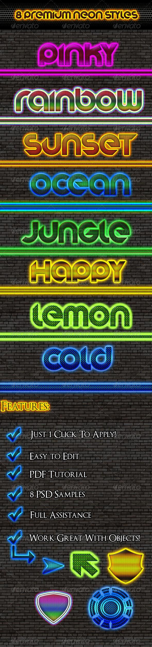 GraphicRiver 8 Premium Neon Styles 6898619