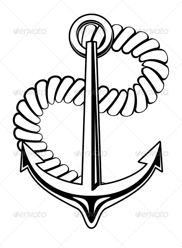 GraphicRiver Nautical Anchor with a Coiled Rope 6898631