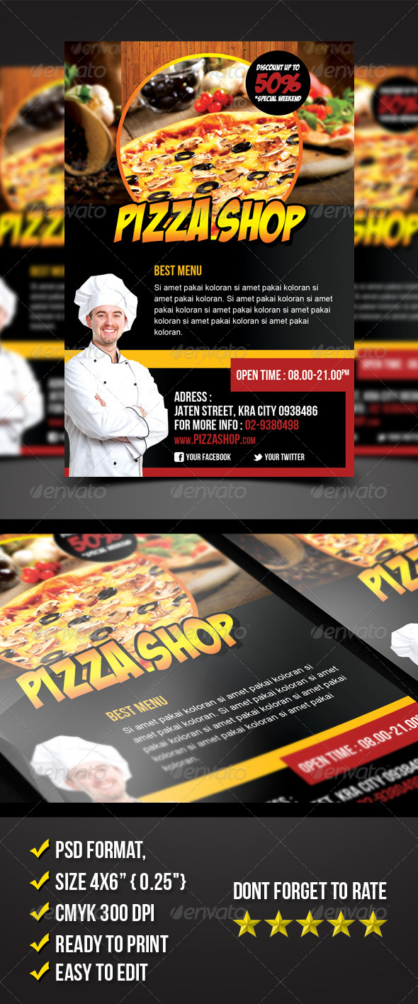 GraphicRiver Pizza Shop Flyer 6898790