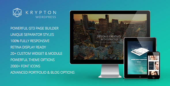 Krypton is a fully responsive and retina ready wordpress Theme suitable for any kind of creative or business use. Krypton is powered with Twitter Bootstrap 3.0