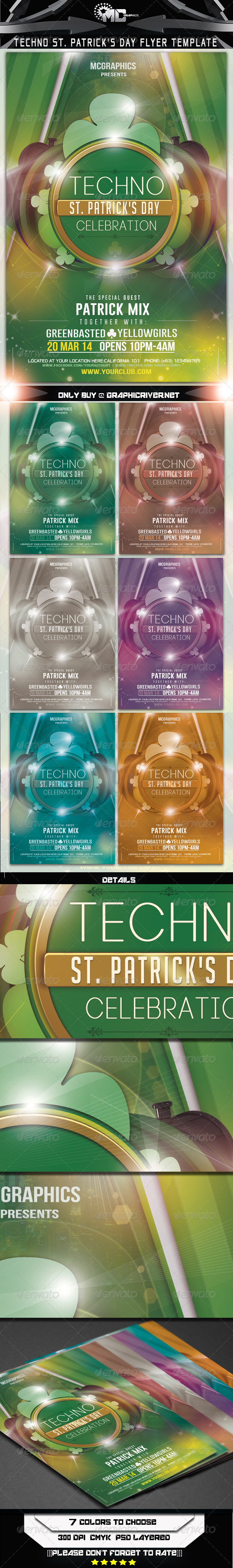 GraphicRiver Techno St Patrick s Day Flyer Template 6899142