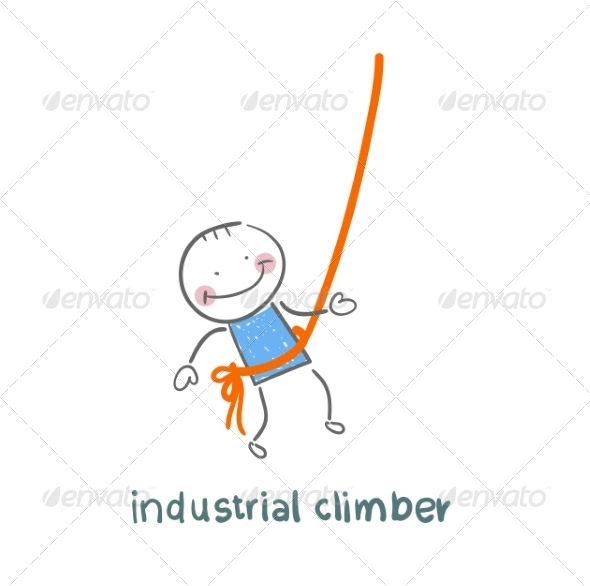 GraphicRiver Industrial Climber Hanging on a Rope 6899231