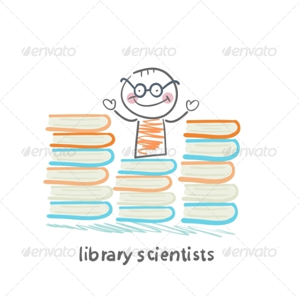 GraphicRiver Library Scientists Stands Near Book Stacks 6899233