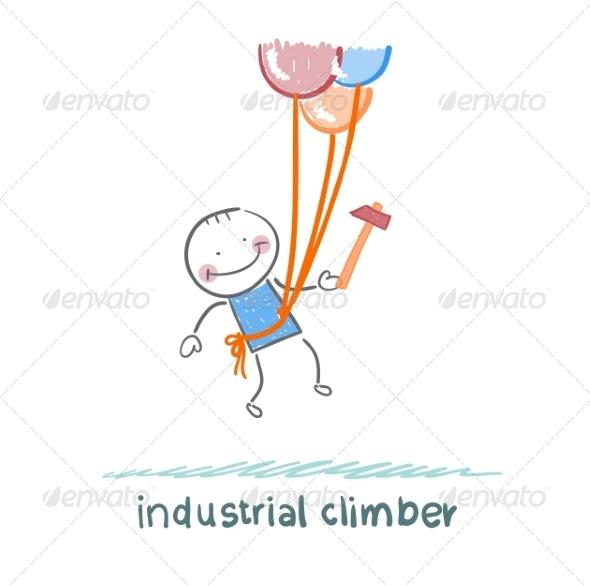 GraphicRiver Industrial Climber Flies on Balloons with a Hammer 6899240