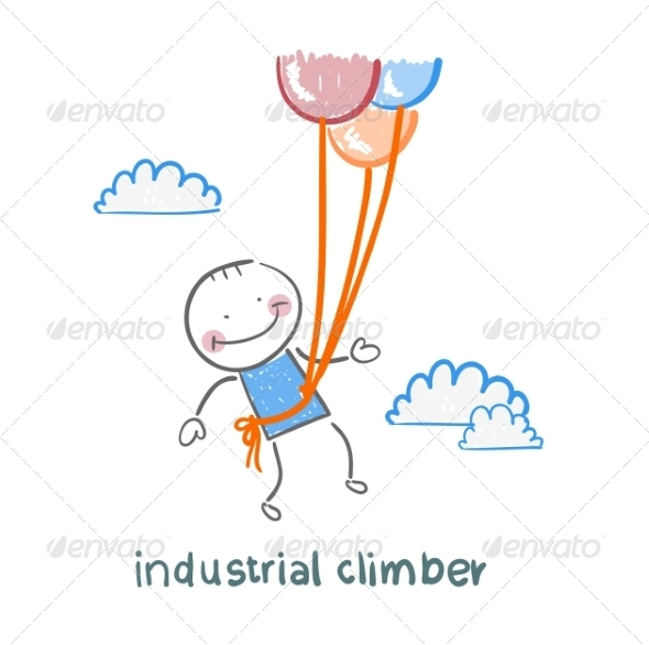 GraphicRiver Industrial Climber Flies on Balloons 6899248