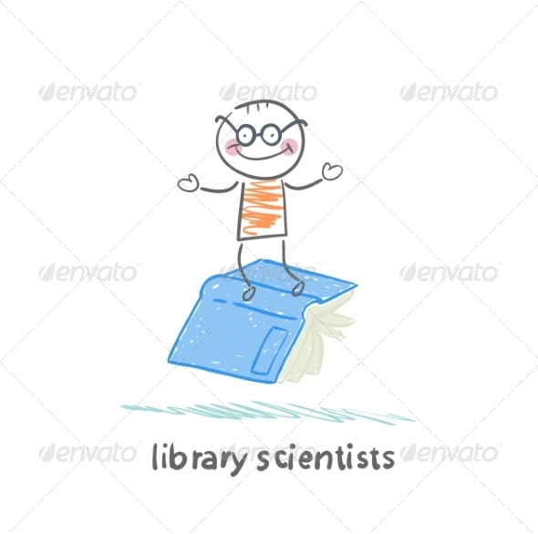 GraphicRiver Library Scientists Flying on Book 6899249