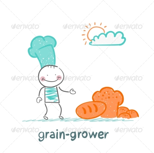 GraphicRiver Grain Grower Stands Next to Bread 6899295