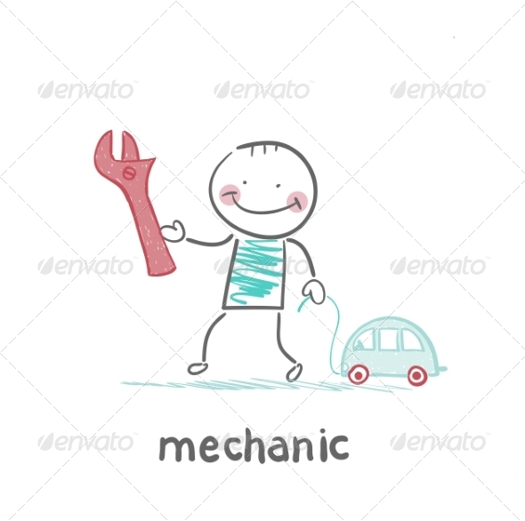 GraphicRiver Mechanic Holding a Key and a Little Car 6899324