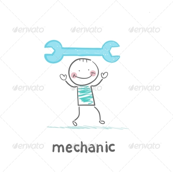 GraphicRiver Mechanic Holding Blue Key 6899336