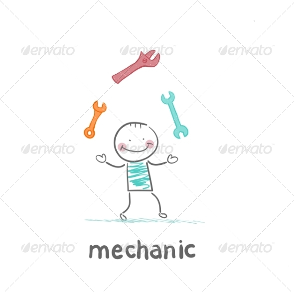 GraphicRiver Mechanic Juggling Tools 6899341