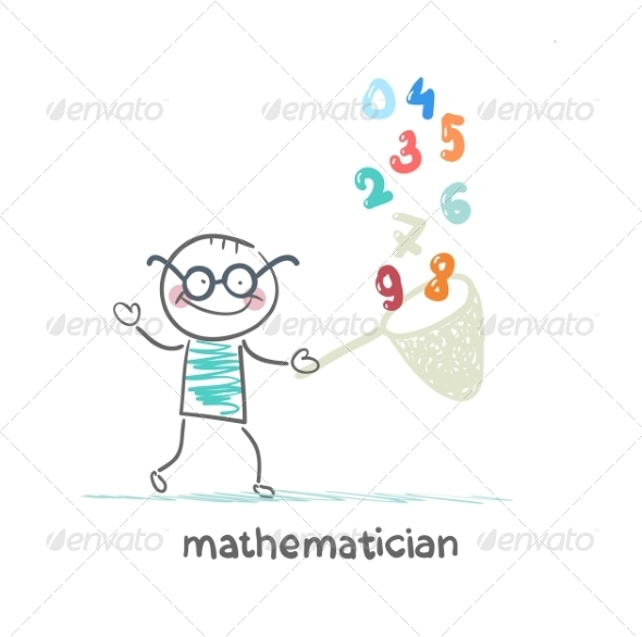 GraphicRiver Mathematician Catches Figures in Butterfly Net 6899393