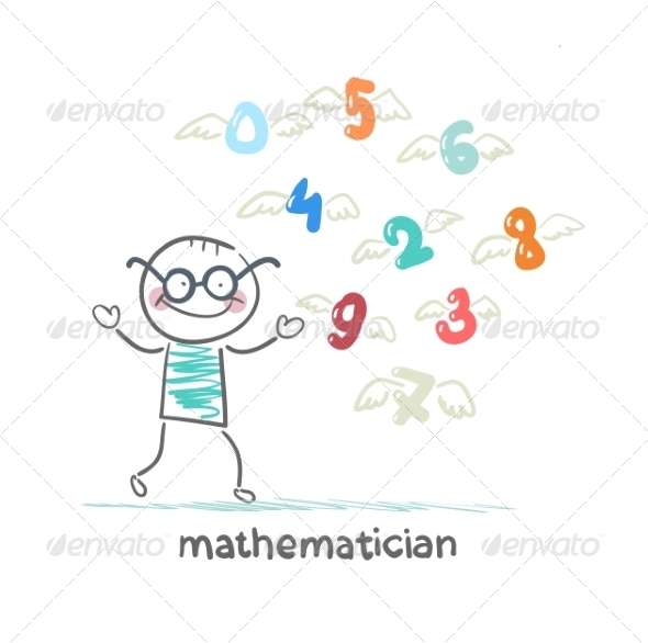 GraphicRiver Mathematician Stands Next to Flying Figures 6899400