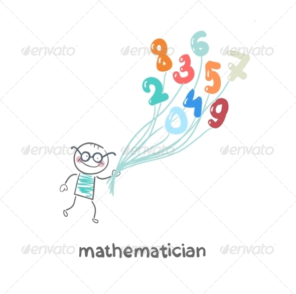 GraphicRiver Mathematician is Flying on Figures 6899412