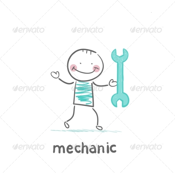 GraphicRiver Mechanic Holding a Green Key 6899413