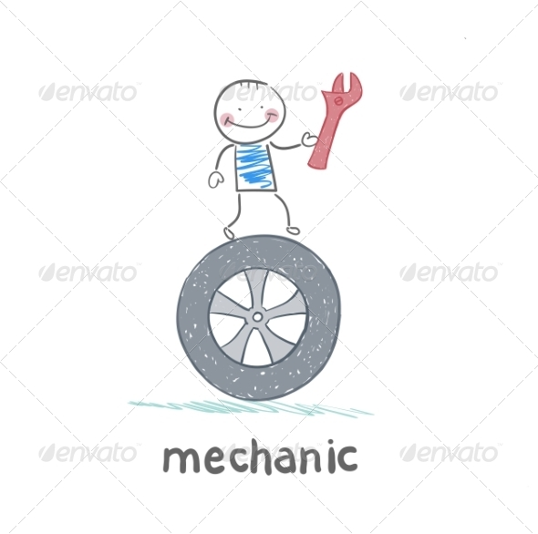GraphicRiver Mechanic Holds Tool and Stands on the Wheel 6899428