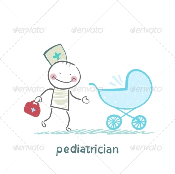 GraphicRiver Pediatrician Came to a Sick Child in a Stroller 6899709