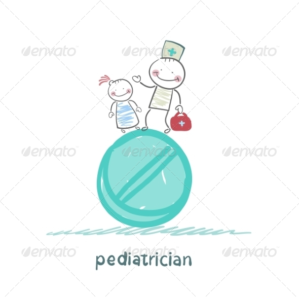 GraphicRiver Pediatrician with a Child Standing on a Tablet 6899712