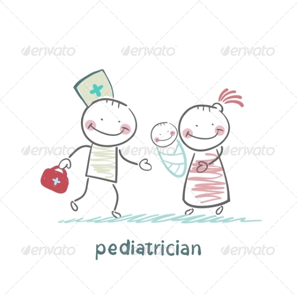 GraphicRiver Pediatrician Stands Next to Mother with Sick Child 6899717