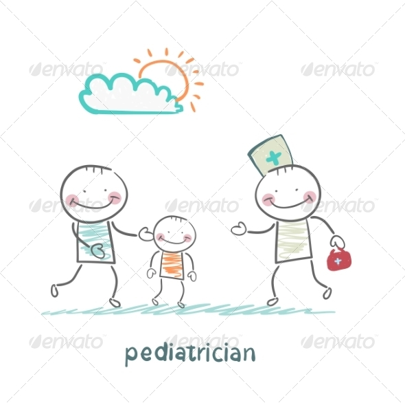 GraphicRiver Pediatrician Takes Dad with a Sick Child 6899723