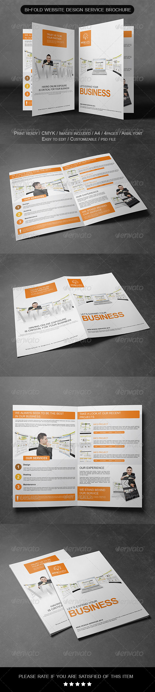 GraphicRiver Bi-Fold Website Design Service Brochure 6899733