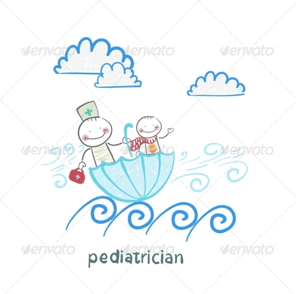 GraphicRiver Pediatrician with Baby Sitting in an Umbrella 6899745