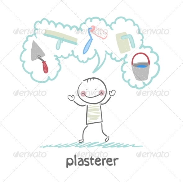 GraphicRiver Plasterer Thinks About His Instruments 6899746