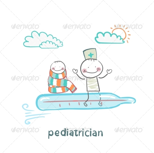 GraphicRiver Pediatrician and Sick Child Flying on a Thermometer 6899751
