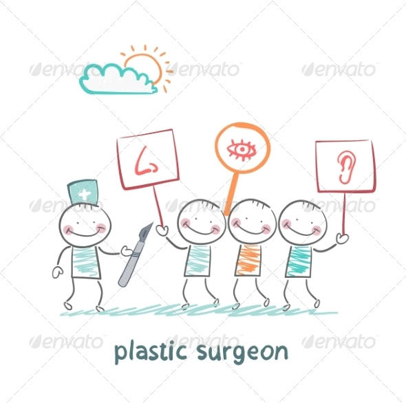 GraphicRiver Plastic Surgeon Looks at People with Placards 6899755