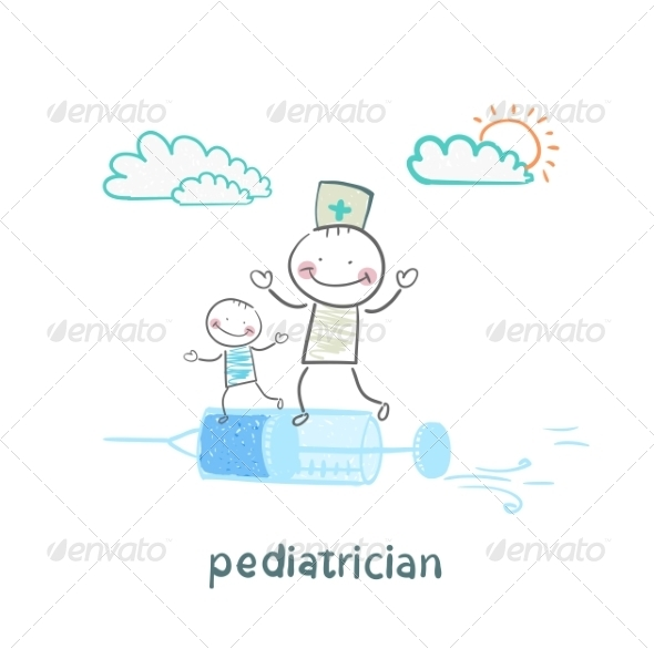 GraphicRiver Pediatrician is Flying on a Syringe with a Sick Child 6899756