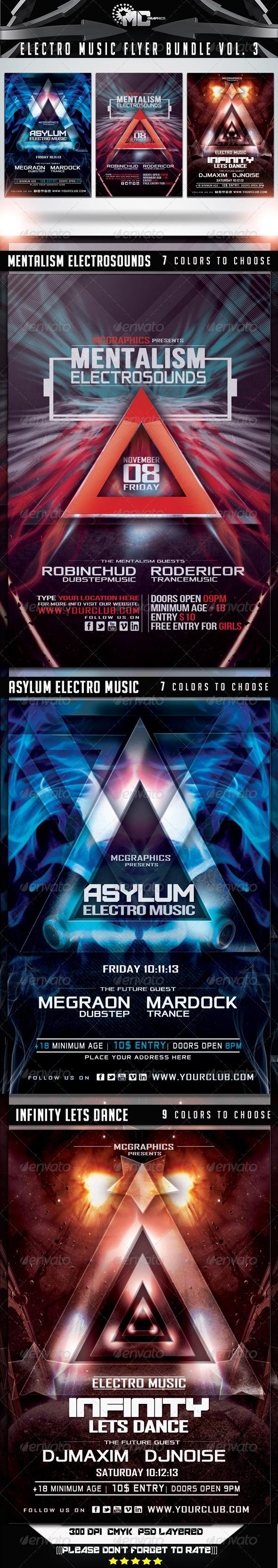 GraphicRiver Electro Music Flyer Bundle Vol 3 6899849