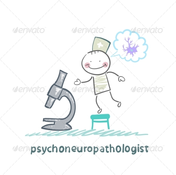 GraphicRiver Psychoneuropathologist Looking Through Microscope 6900139