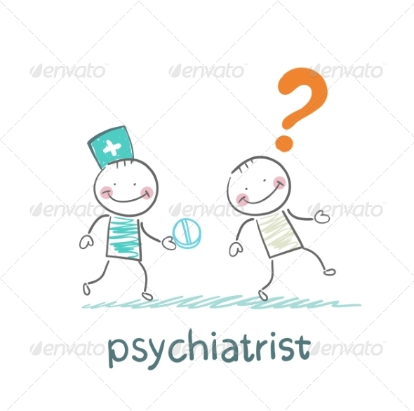 GraphicRiver Psychiatrist Gives the Patient a Pill 6900164