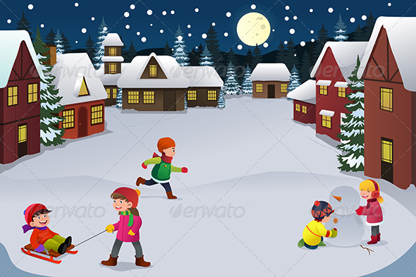 GraphicRiver Kids Playing in a Winter Wonderland 6901055