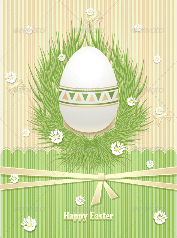 GraphicRiver Easter Egg with Grass Flowers Ribbon 6901081