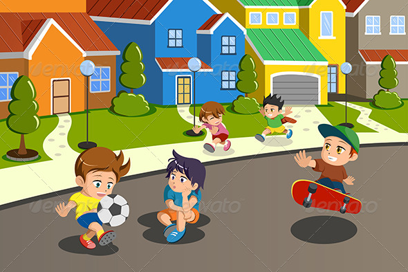 GraphicRiver Kids Playing in the Street 6901120