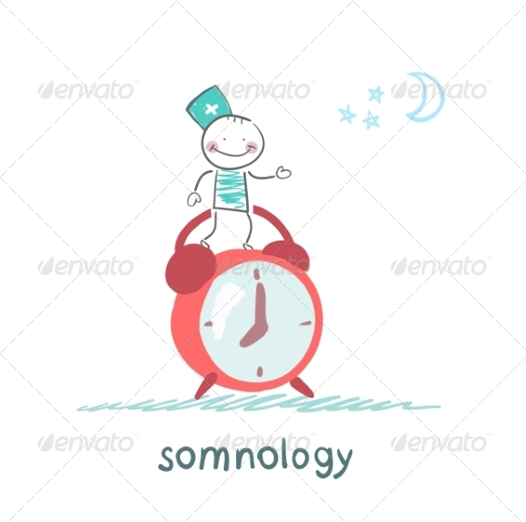 GraphicRiver Somnologist Stands on Alarm Clock 6901209