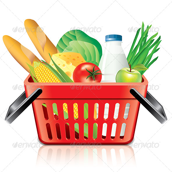 GraphicRiver Shopping Basket with Food 6901304