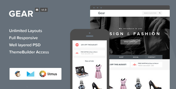ThemeForest Gear Responsive Email & Themebuilder Access 6897163